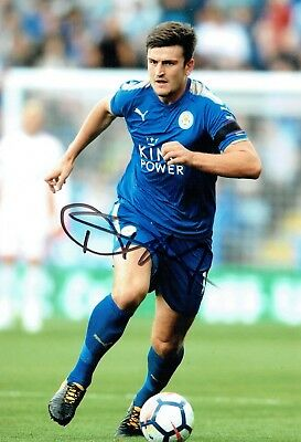Harry MAGUIRE Signed Autograph 12x8 Photo 2 AFTAL COA Leicester City England