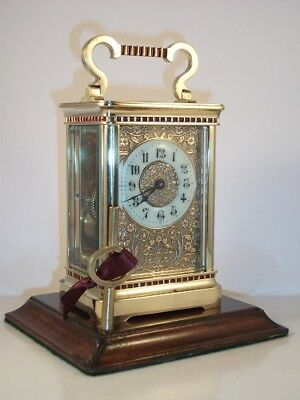 Good Quality Antique Brass Carriage Clock With Pretty Masked Dial. Key.