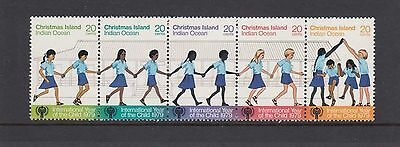 CHRISTMAS Island 1979 YEAR of the CHILD strip of 5   MNH