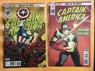 Captain America #  695 - 698, four newest issues of hot series, NM   2017 - 2018
