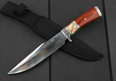"12"" Survival Sports Bowie Knife Outdoor Camping Hunting Knife Wood Handle Knife"