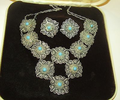 Superb,antique, Chinese Sterling Silver Demi-Parure:necklace/earrings/turquoise