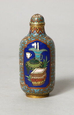 Fine Quality Antique Chinese Cloisonne On Bronze Snuff Bottle, Precious Objects