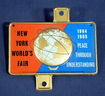 Vtg 1964 1965 New York World's Fair License Plate Topper Mint Unused! US Steel
