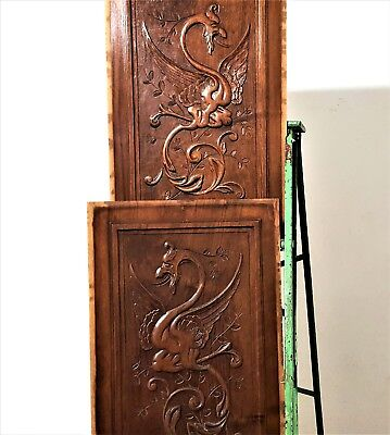 Pair Hand Carved Wood Panel Antique French Gotic Dragon Architectural Salvage