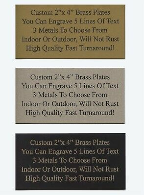 "Engraved Custom 2""x 4"" Aluminum Gift Trophy Name Plate Plaque Tag Art Label"