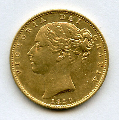 GREAT BRITAIN 1850-WW Qn.VICTORIA SOVEREIGN GOLD COIN SCARCE DATE NICE AU+UNC.