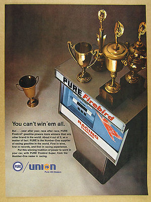 1968 PURE Firebird Racing Gasoline gas pump photo Race Trophies vintage print Ad