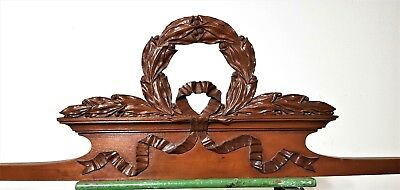 Hand Carved Wood Pediment Antique French Victory Triumph Architectural Salvage