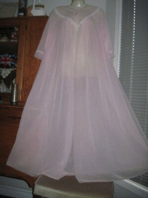 VTG DOUBLE NYLON CHIFFON Pink Sissy PEIGNOIR ROBE For your NIGHTGOWN M L SWEEP