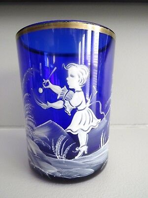 1960's Czech Republic Glass Bohemian Cobalt Blue MARY GREGORY Enameled Tumbler