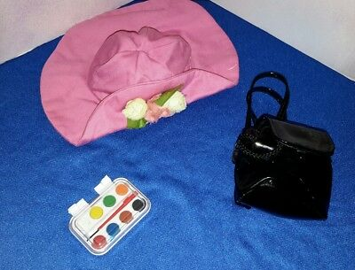 1995 Magic Attic Club Doll Heather's Starter accessories hat vinyl bag and paint