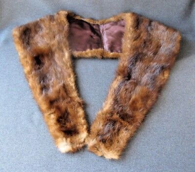 Vintage brown real mink fur large collar
