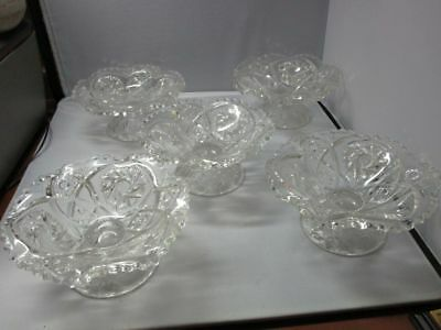 5 EAPG Cambridge Near Cut Buzz Saw Footed Compote Ice Cream Dish