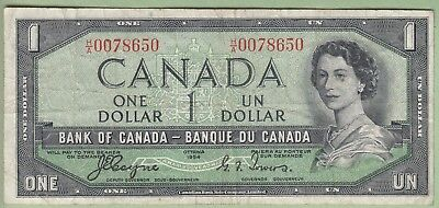 1954 Bank of Canada One Dollar Note - H/A0078650 -Devil's Face - Fine