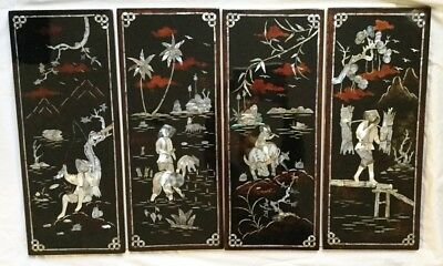 Set NOS Black Lacquer Wall Plaque/Panels Mother of Pearl Rural Vietnam 20x32