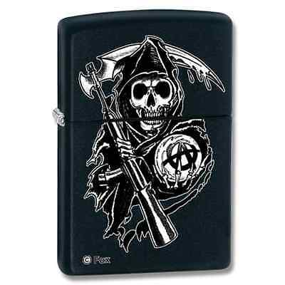 Zippo 28504, Son's of Anarchy, Black Matte Lighter  **6 Extra Flints & Wick**
