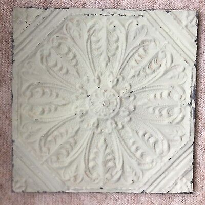1890's  23 x 23 Antique Tin Ceiling Tile Sage Green Wrapped Wall Art 82-18