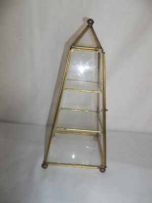 Vtg Glass Metal 3 Shelf Triangle Table Top Display Case  Curio  Cabinet