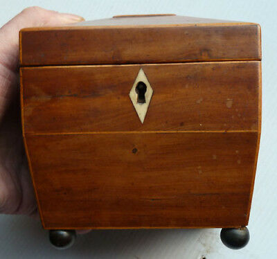 A Very Small Fruitwood Tea Caddy With Unusual Lid