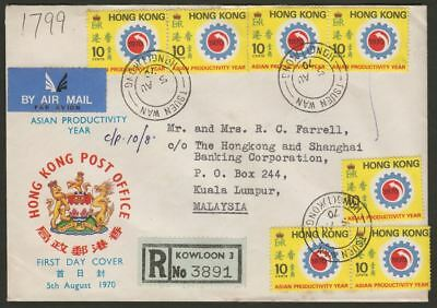 Hong Kong 1970 QEII Asian Productivity 10c x7 Used on First Day Cover - Malaysia