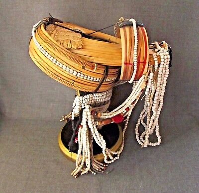 Vintage Akha People Woman's Headress Hat Golden Triangle Area Northern Thailand