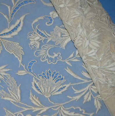"""1 Yard Scarce Antique Hand Embroidered Old Yardage 33"""" Convent Lace...5 Yd Avail"""