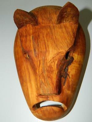 Hand Carved Wood Indian Mask Cherokee Nc Davis Welch  Wolf Signed 1997