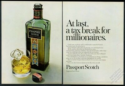 1968 Passport Scotch whisky At Last A Tax Break For Millionaires print ad