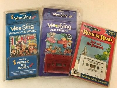 3 Lot Book & Cassette Wee Sing & Rock N' Learn