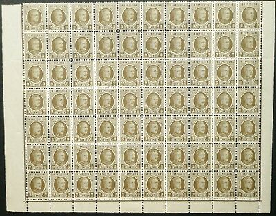 BELGIUM 1926-27 SHEET OF 70 2c OLIVE STAMPS - MINT - SEE!