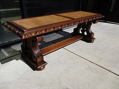 Kittinger Furniture Walnut 1920's English Tudor Jacobean Bed Bench W/ Cane