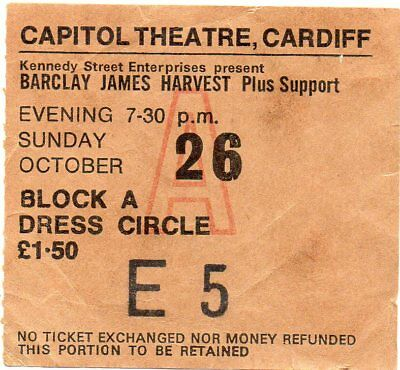 Barclay James Harvest Band Concert Ticket 1975 Original Vintage 43 Years Old Gem