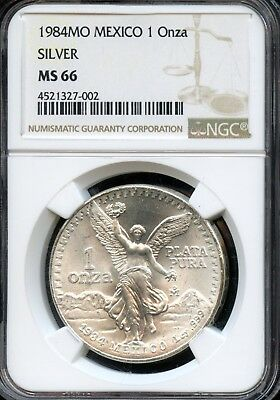 Stunning 1984-MO NGC MS 66 Mexico 1 Onza .999 Silver Round EL529