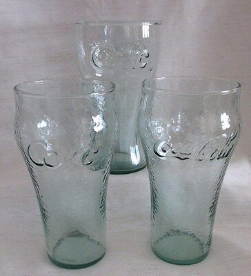 Coke Glasses, Reproductions of Old Coca Cola Glasses, Light Green, Lot of 3