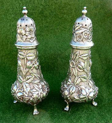 MATCHING ART NOUVEAU STERLING SILVER PEPPER POTS BY GALT & BRO USA - 4+oz