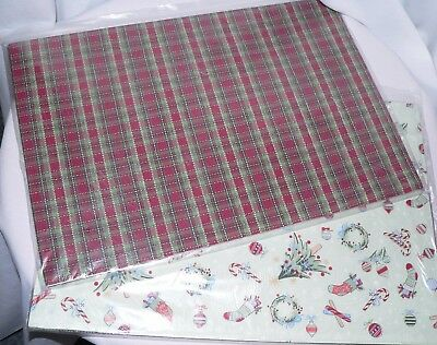 Longaberger Holiday Plaid/all The Trimmings  Reversible Placemats Four - New!