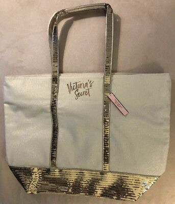 Victoria's Secret Large GWP Bag White with Metallic Gold Sequins New With Tags