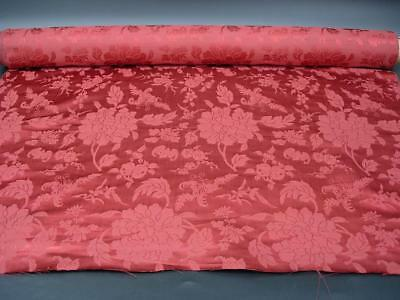 """An Antique Chinese Bolt Of Brocade Silk W Flowers And Bats, Paper Label, 275"""" L"""