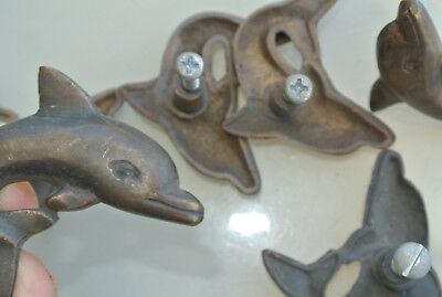 6 ANTIQUE style small DOLPHIN Cabinet Door solid Brass KNOB Drawer Pull 5 cm