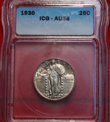 1930 Philadelphia Mint Silver Standing Liberty Quarter ICG Graded AU 58