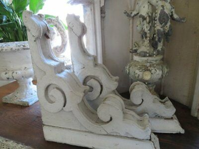 AWESOME PAIR Old Architectural CORBELS ORNATE Chippy White Perfect Size & Shape
