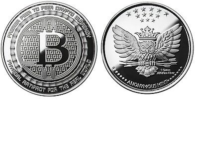 Bitcoin 1 Oz .999 Silver Proof Bitcoin Commemorative Coin Anonymous Mint Owl Coa