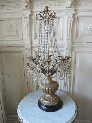 EXQUISITE Old CANDLE HOLDER GIRANDOLE Strands MACARONI BEADED CRYSTALS