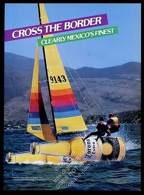 1987 Corona Beer bottle as Hobicat Hobie Cat photo vintage print ad