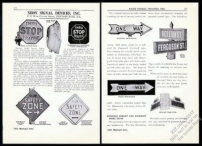 1931 Neon Signal Devices traffic sign stop one way etc 9 photo trade print ad