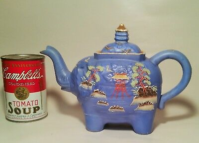 BLUE satsuma elephant teapot vtg japanese pagoda bonsai temple porcelain pottery