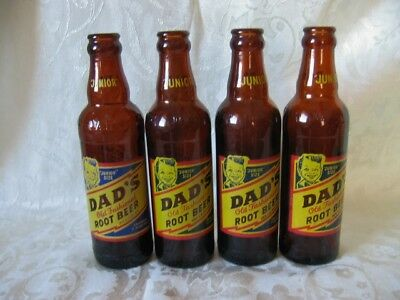 *4*VTG Amber Brown ROOT BEER Bottles DAD'S 7 oz QUINCY IL MADISON WI