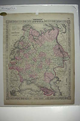 """1863 Hand Tinted MAP OF RUSSIA *Mounted*18"""" x 14"""" Nice!"""