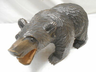 Ainu Growling Bear Hand Carved Wooden Traditional Japanese Vintage Signed #37